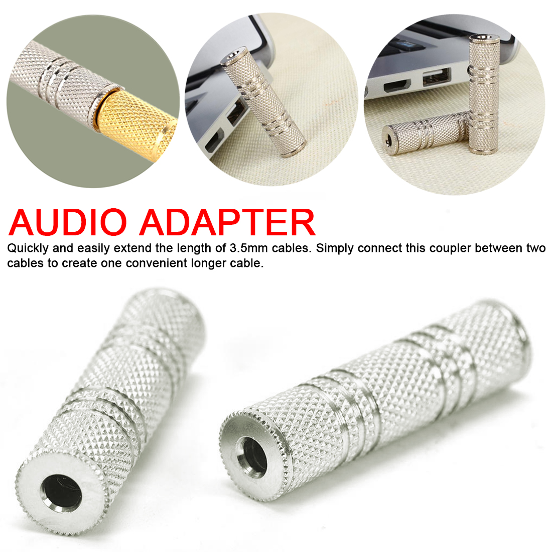Headphone Jack Cables 3.5mm Female To Female Audio Adapter Connector Coupler Stereo F/F Extension