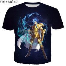 Moda clássico anime saint seiya/ouro santos t camisa masculina/feminina 3d impresso camiseta unisex harajuku estilo tshirt streetwear topos
