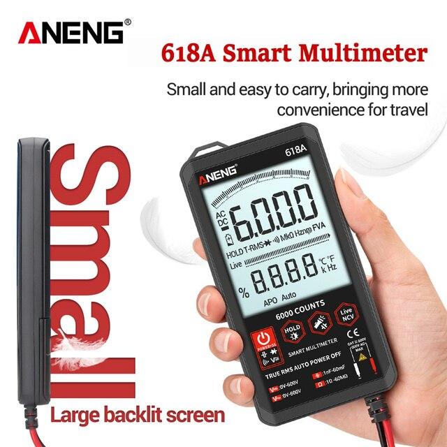 ANENG 618A multimètre numérique professionnel intelligent tactile cc analogique véritable RMS testeur automatique Transistor condensateur NCV testeurs mètre
