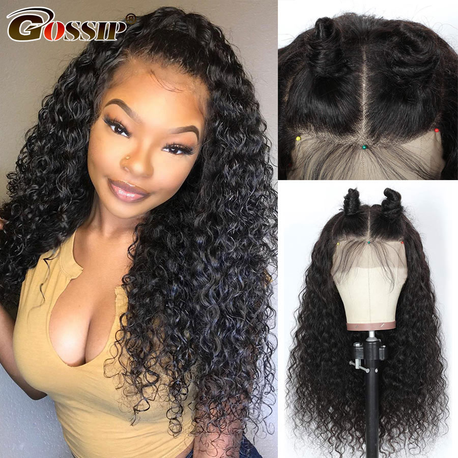 Curly 4x4 Lace Closure Wig Water Wave Lace Front Human Hair Wigs Gossip Hair 150 Density Brazilian Remy Frontal Wig pre plucked (2)