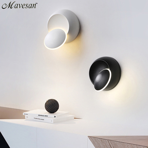 Image 2 - LED קיר מנורת 360 תואר סיבוב מתכוונן המיטה אור לבן ושחור creative מנורת קיר שחור מודרני מעבר עגול מנורה
