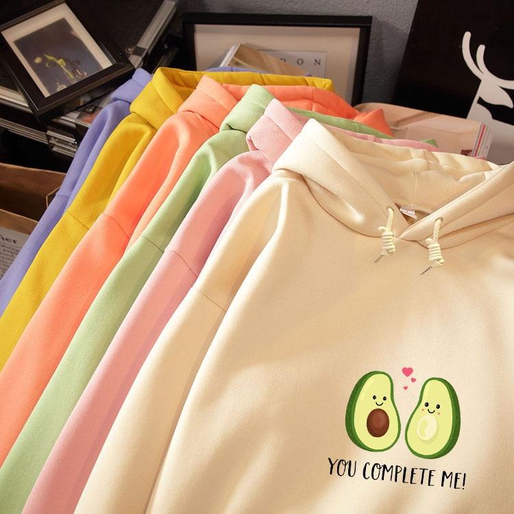Avocado Graphics Letter Print Warm Kawaii Sweatshirt Streetwear Drawstring Pullover Fleece Oversized Hoodie Korean Style Women