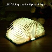 USB Charging Book Light Night Light 7 Colors Change Color Lights Desk Light Folding Flip Book Mini Night Lighting Lights Gifts