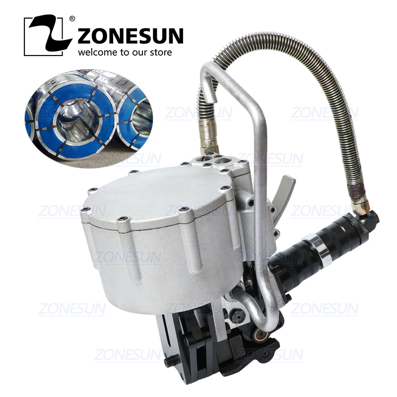 ZONESUN DB KZ32 Automatic Pneumatic 19 32mm Steel Belt Strapping Machine Tension Cutting Packaging For Wood Steel Strapping Tool|Food Processors| |  - title=
