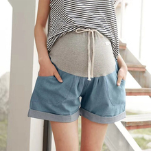 Summer Maternity Jeans For Pregnant Women Thin Maternity Short Jeans Denim Pregnancy Pants Pregnant Stomach Lift Jean