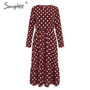 Image 2 - Simplee אלגנטי פולקה נקודות מקסי שמלה בוהמי אונליין o צוואר ארוך שמלת המפלגה שמלת עבודה ללבוש שיק סתיו ארוך שמלות הערב