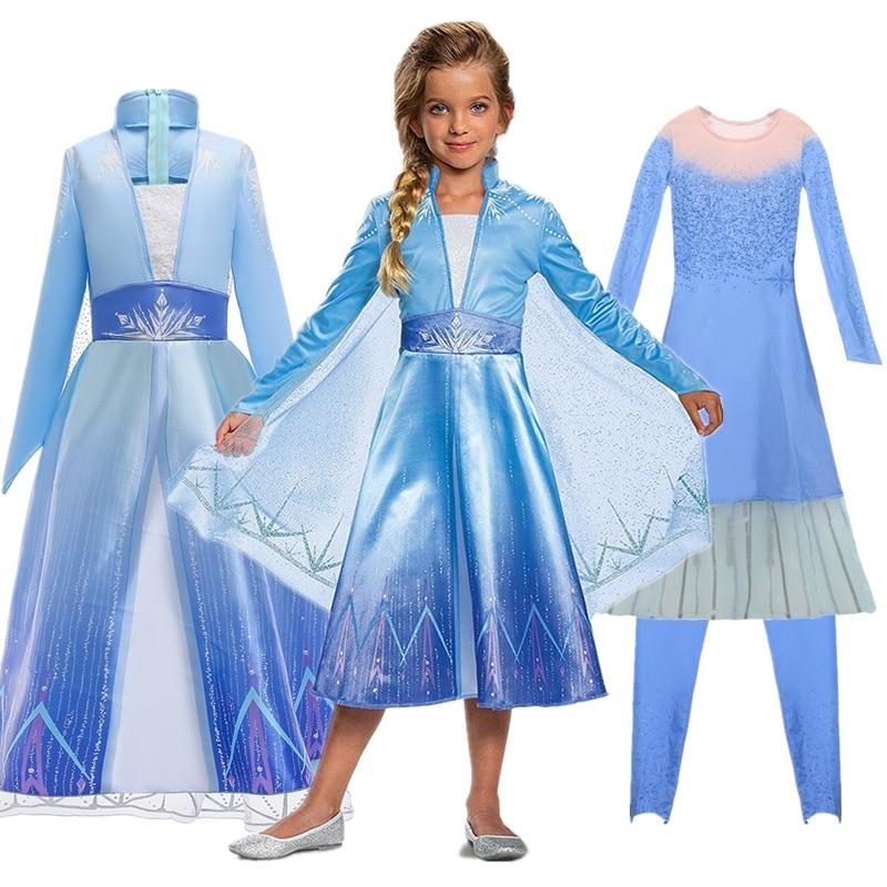 New Snow Queen Anna Elsa 2 Christmas Dress Kids Halloween Carnival Elza Costume Girls Crystal Light Blue Long Sleeve Elsa Dress