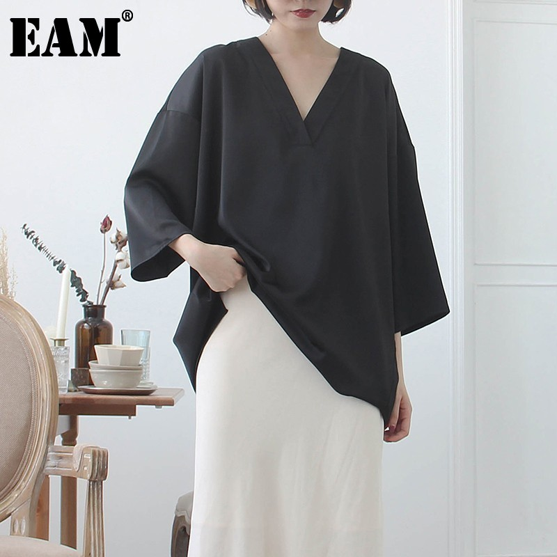 [EAM] Women Black Brief Asymmetrical Big Size Long T-shirt New V-Neck Long Sleeve  Fashion Tide  Spring Autumn 2020 JK987 1