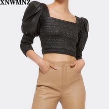 Xnwmnz za Женская блузка из искусственной кожи с пышными рукавами