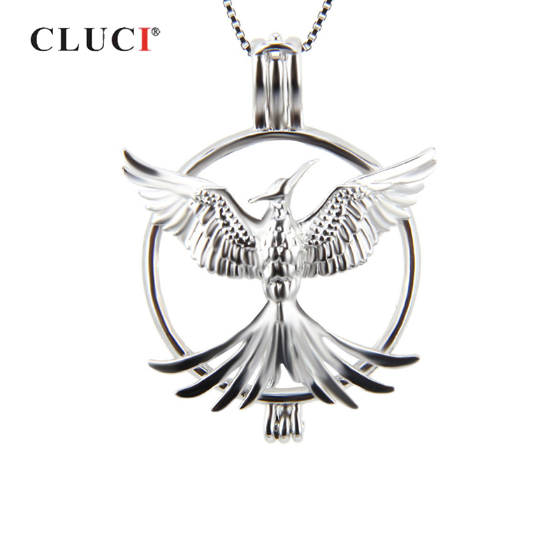 CLUCI 925 Silver Phoenix Shaped Cage Pendant US Air Force Charms Pendant 925 Silver Women Pendant Jewelry Pearl Locket
