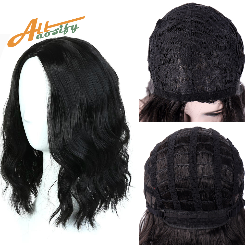 Allaosify <font><b>Short</b></font> Curly Bob <font><b>Wig</b></font> Blonde Synthetic <font><b>Wigs</b></font> for Black Women Hair Net Included <font><b>Short</b></font> Wavy Bob Hair <font><b>Pink</b></font> Natutal Black <font><b>Wig</b></font> image