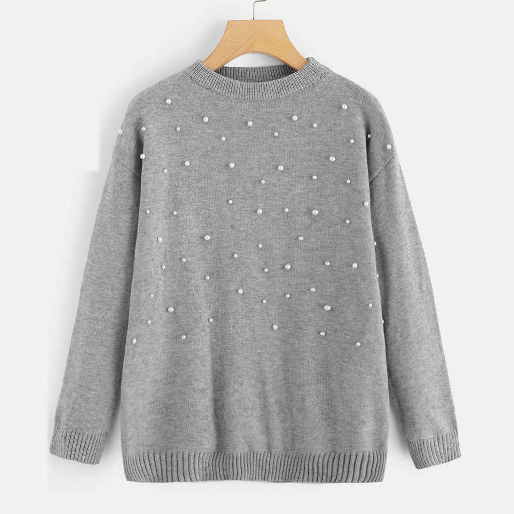 Femmes Imitation perle pull à manches longues pull ample hauts tricots femmes chandail 2019 hiver hauts Sueter Mujer