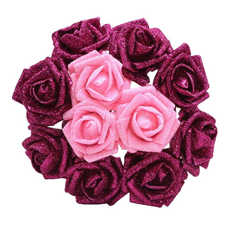 10P 6 см блестящий цветок Роза пенопластовый цветок искусственный цветок букет Рождество Свадьба Вечеринка дома искусственное ремесло