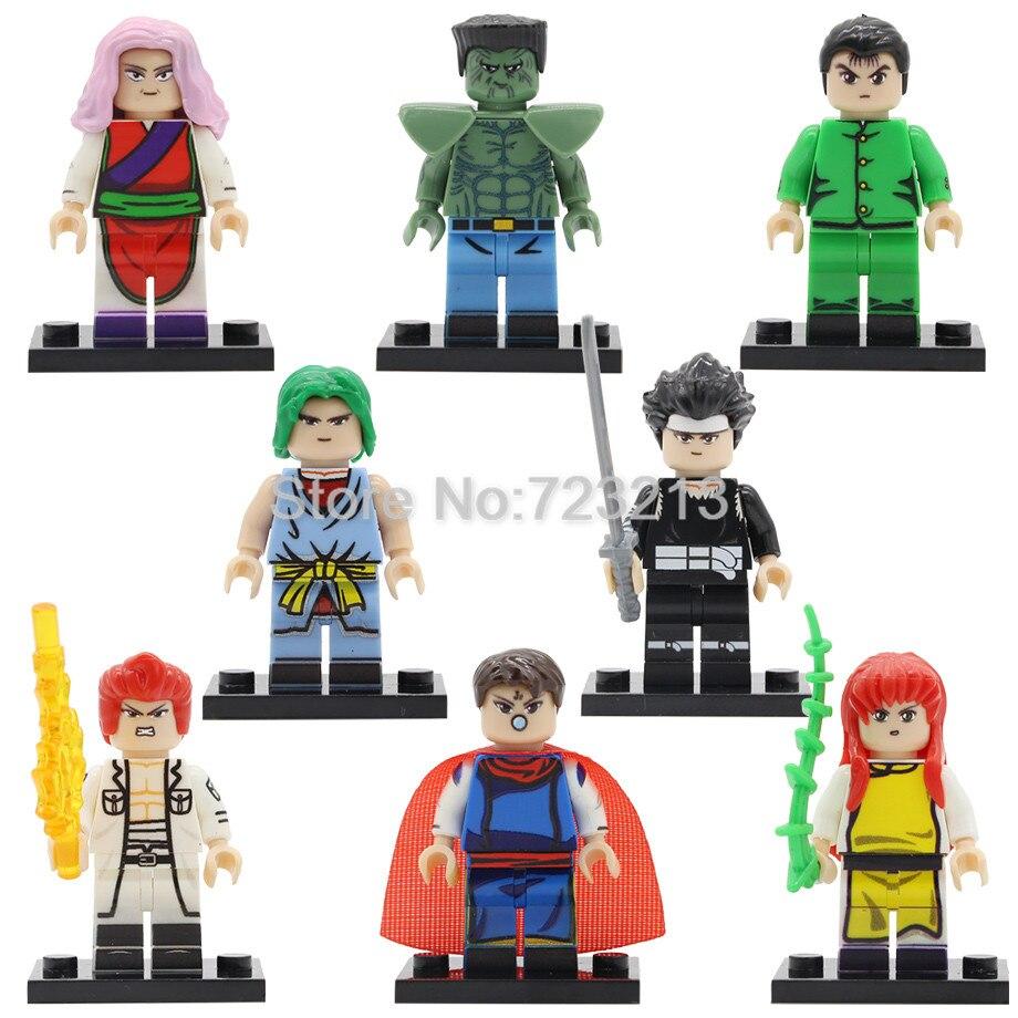 YuYu Hakusho Figure Single Sale Cartoon Urameshi Yuusuke Kuwabara Kazuma Kurama Hiei Genkai Brick Toys Building Blocks Legoing