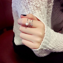 Korean multi-layer zircon micro-mosaic, Pearl mosaic, personality Chao man ring, index finger ring woman недорого