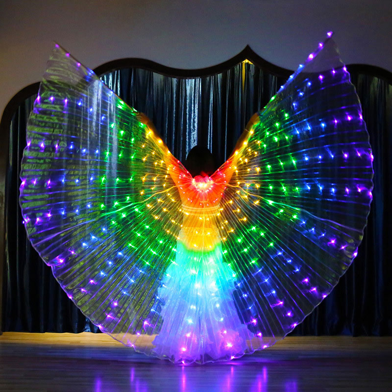 LED Butterfly Isis Wings Color Dancing Luminous Wings Costumes With Telescopic Stick For Belly Stage Shows Kids Children Girls