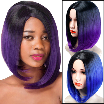 Allaosify Women High Temperature Fiber Bob wigs Medium Black Ombre Blue purple pink blonde Straight Synthetic Wig bob style grey ombre white fashion medium synthetic straight side bang capless wig for women page 1