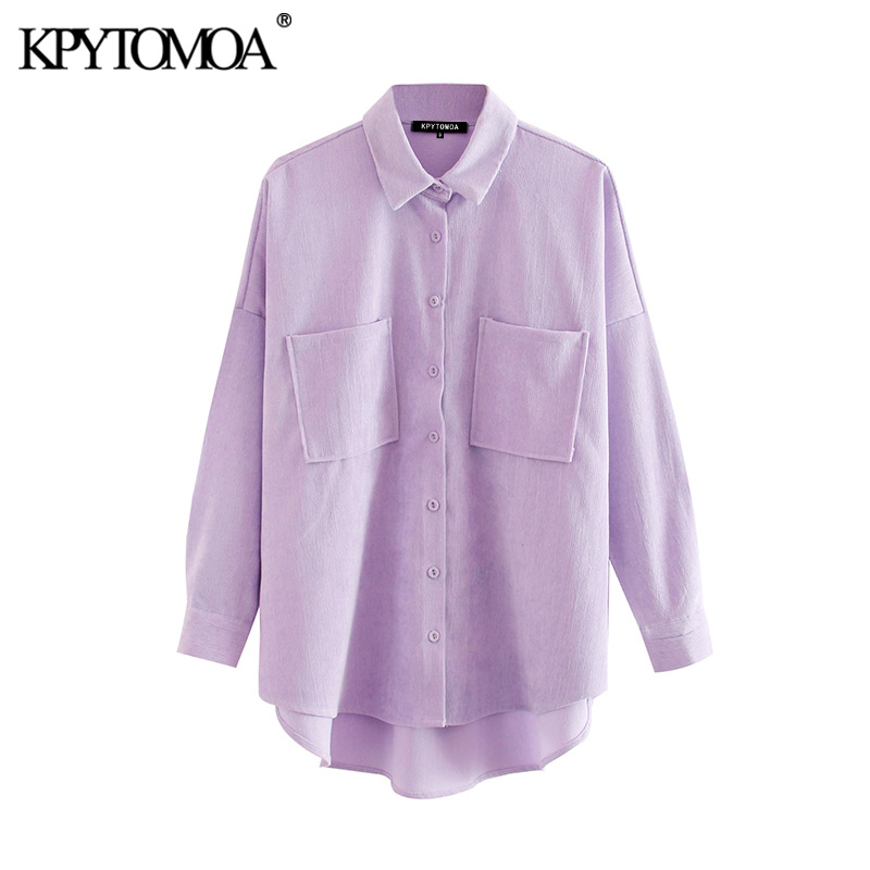 KPYTOMOA Women 2020 Fashion Pockets Oversized Corduroy Shirts Vintage Long Sleeve Asymmetric Loose Female Blouses Chic Tops