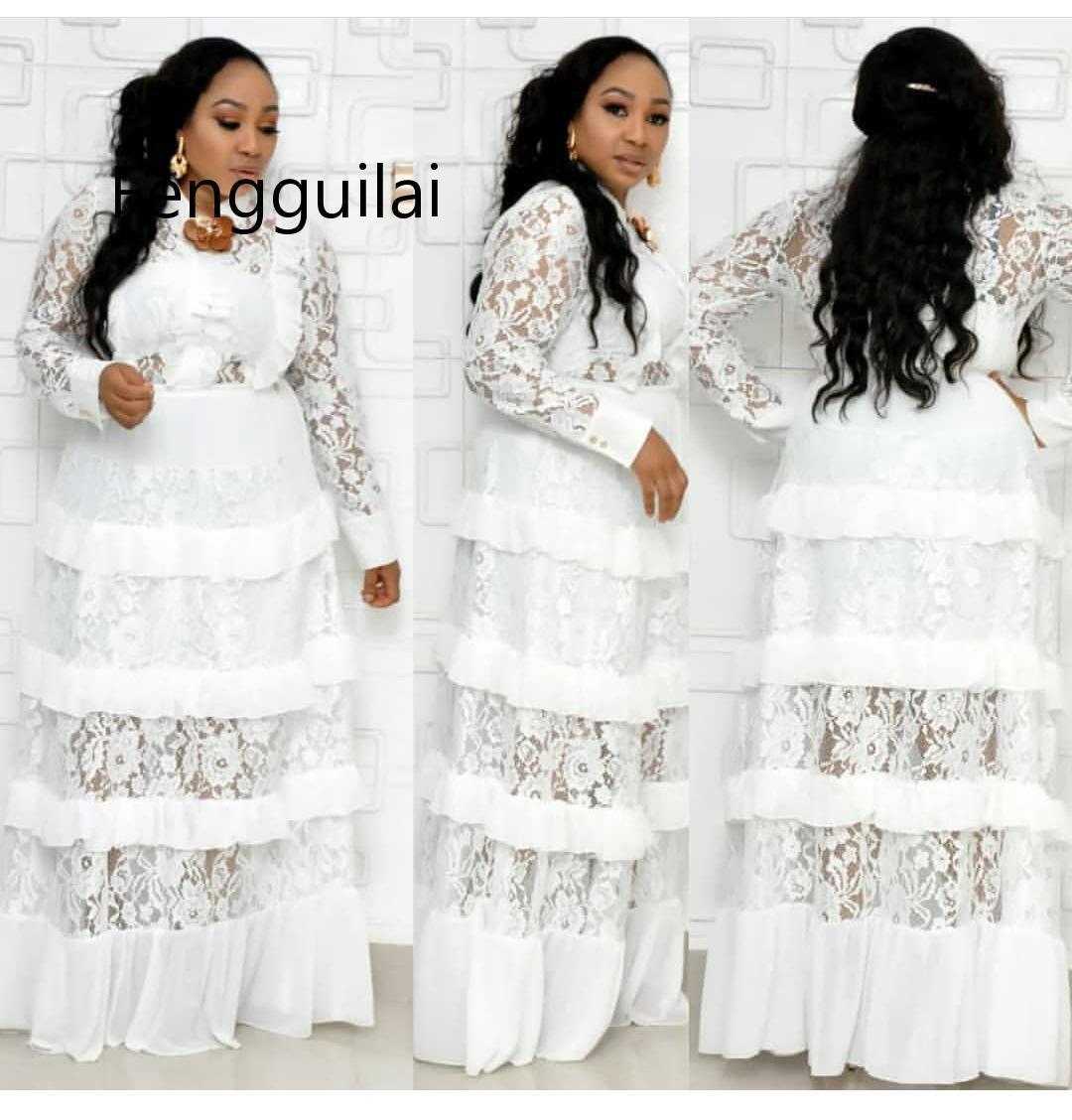 FENGGUILAI 2020 Big Size New Style Classic African Women's Dashiki Fashion Lace Fungus Edge Stitching Long Dress Cupcake Dress