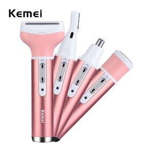 Image 1 - Kemei נשי אפילציה 4 ב 1 משולב נשים חשמלי מכונת גילוח גברת נטענת גילוח גבות האף גוזם שיער Trimer