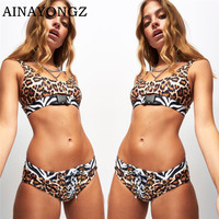 2020 Sexy Bikini Swimwear Women Top Belt Socket Printed Splicing Bathing Suit Push-up Snake Leopard Swimsuit U-Neck Bather Mujer