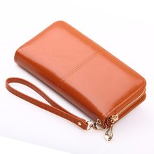 Quality phone bag Clutch Fashion Split Leather Female Long Style Women Zipper Purse Strap Coin Purse For iPhone 7 Plus x xs max(China)