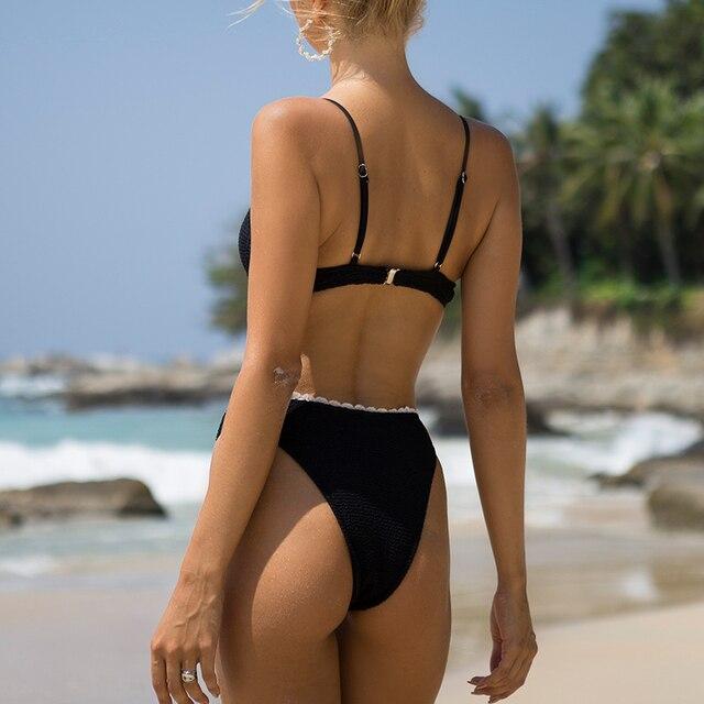Ruffle Ribbed Bikini Set