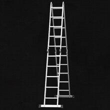 4*5 Practical Aluminum Alloy Folding Ladder 20-Step Joints Retractable Construction ladder Adjustable Telescopic Ladder Silver