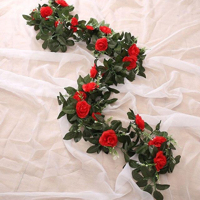 Rose artificielle en soie 2.4m/7.8ft | Guirlande de fleurs suspendue en rotin, vigne de Wisteria, pour décoration de mariage, de maison, de jardin