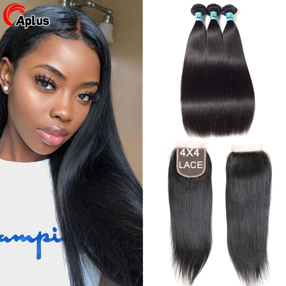 Aplus Hair Peruvian Hair Bundles With Closure 3 Bundle Hair Deals With Closure Human Remy Straight Hair Bundles With Closure