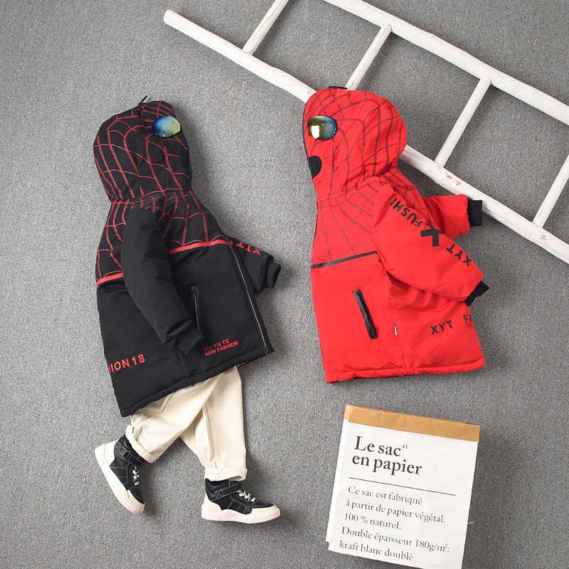 Çocuk ördek aşağı iki taraflı ceketler erkek çift taraflı örümcek sıcak uzun kaban kış rahat moda uzun kollu Zip üst giysi