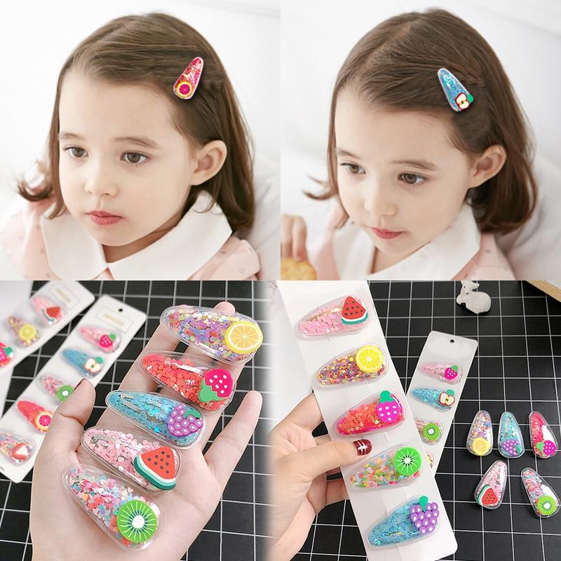 1Set New Girls Cute Colorful Cartoon Fruits Hairpins Children Lovely Hair Clips Barrettes Headband Kids Fashion Hair Accessories