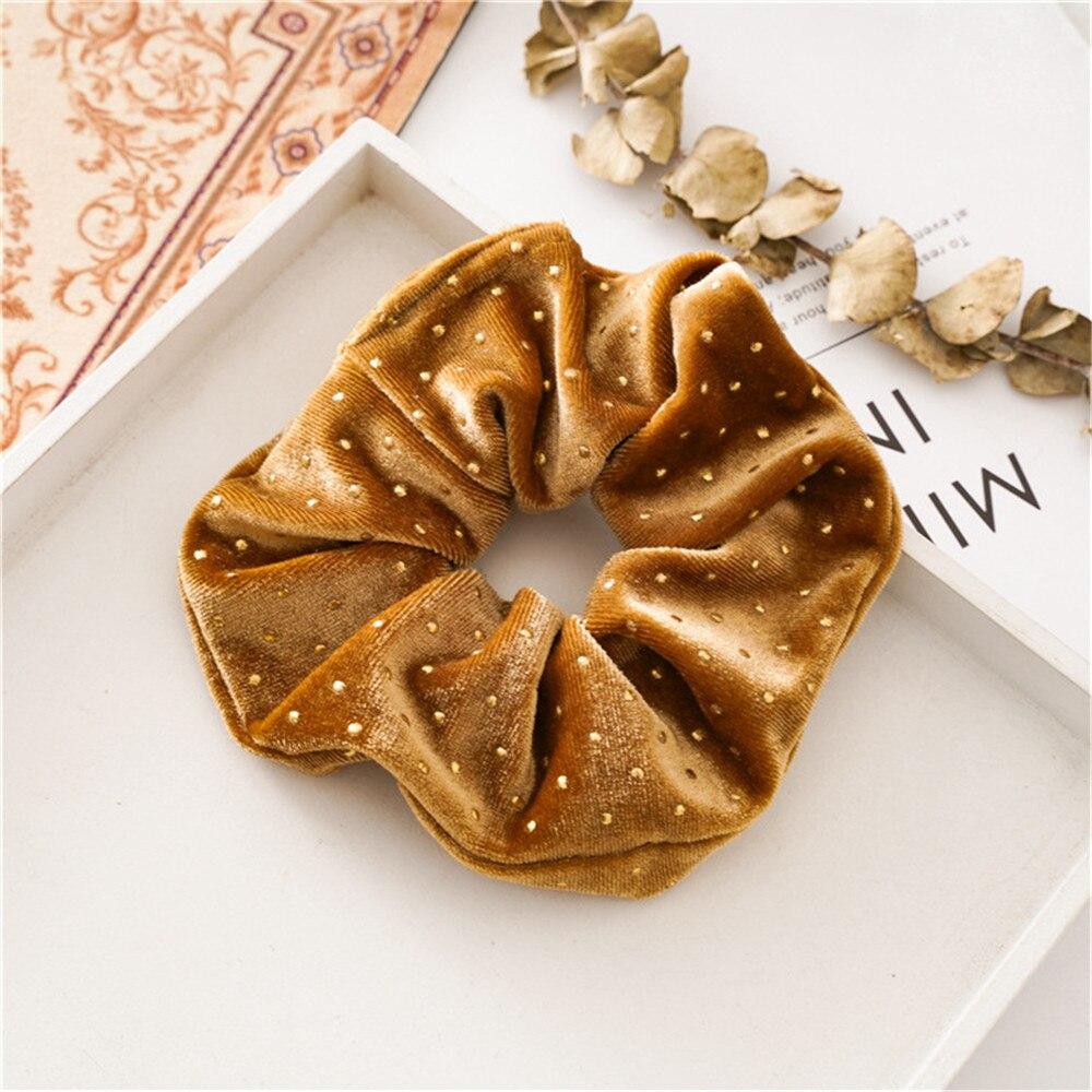 Новые рождественские золотые бархатные резинки для волос, прочные резинки для волос для девочек, резинки для конского хвоста - Цвет: Coffee