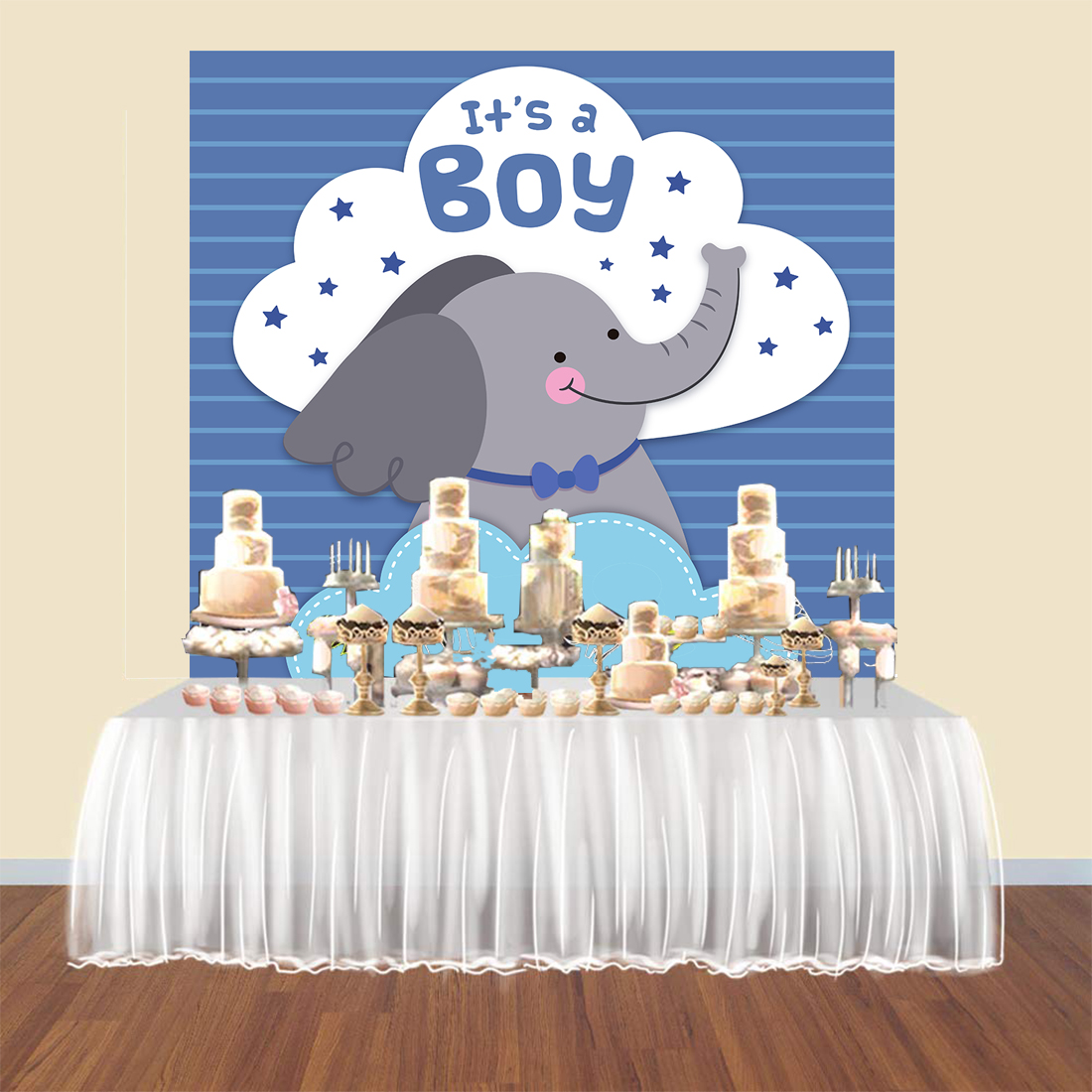 BEIPOTO It's a <font><b>boy</b></font> <font><b>baby</b></font> <font><b>shower</b></font> <font><b>backdrops</b></font> photography blue elephant cake table banner party decoration photo booth backgroundB443 image