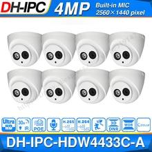 Оптовая продажа, сетевая купольная мини камера Dahua IPC HDW4433C A POE со встроенной микрокамерой видеонаблюдения 4 МП, 8 шт./лот для системы видеонаблюдения
