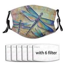 Mascarilla con filtro De libélula para hombre y mujer, tapabocas reutilizable, a prueba De viento, para niebla y niebla