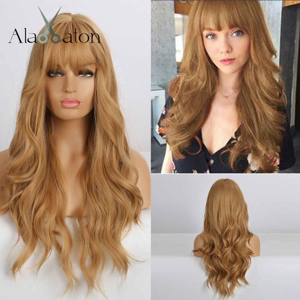 ALAN EATON Long Gloden Honey Blonde Wave Synthetic Hair Wig With Bangs For Black Women High Temperature Fiber Cosplay Wigs