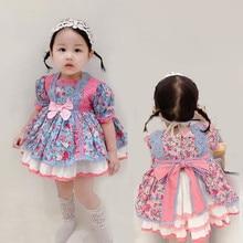 Для маленьких девочек испанский платья детская одежда в винтажном стиле; С цветочным рисунком колен Бальные платья 2021 новые детские Испани...