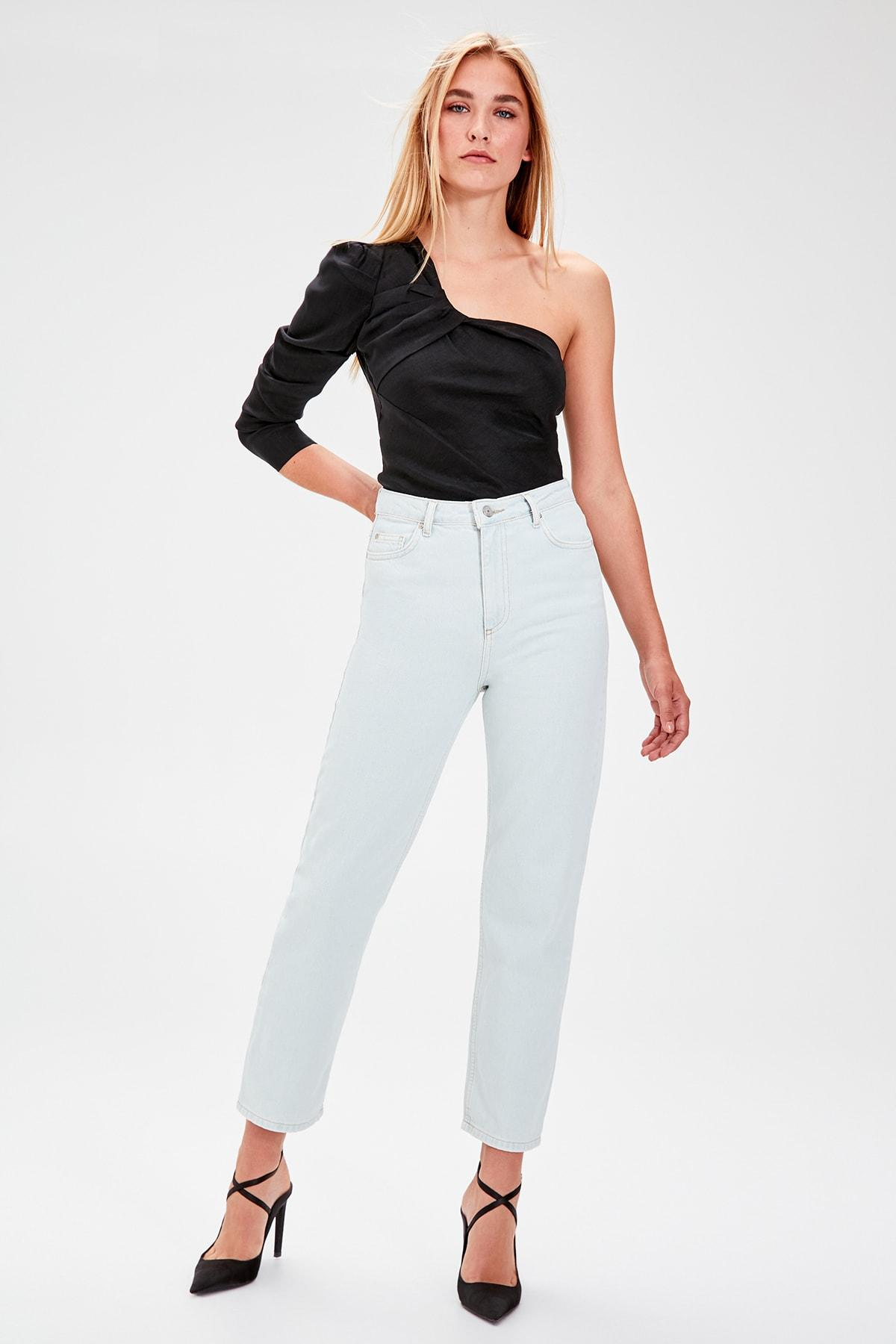 Trendyol Blue High Waist Straight Jeans TWOAW20JE0100
