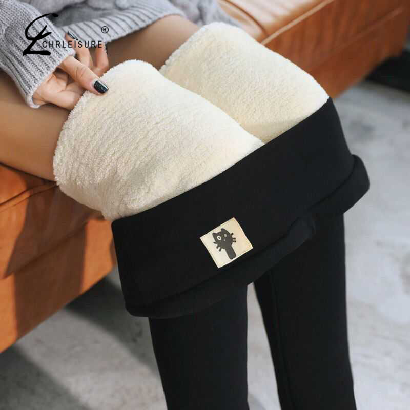 Solid Black Warm Leggings Winter Skinny Thick Velvet Wool Fleece Girls Leggings Women Trousers Cashmere Pants For Women Leggings