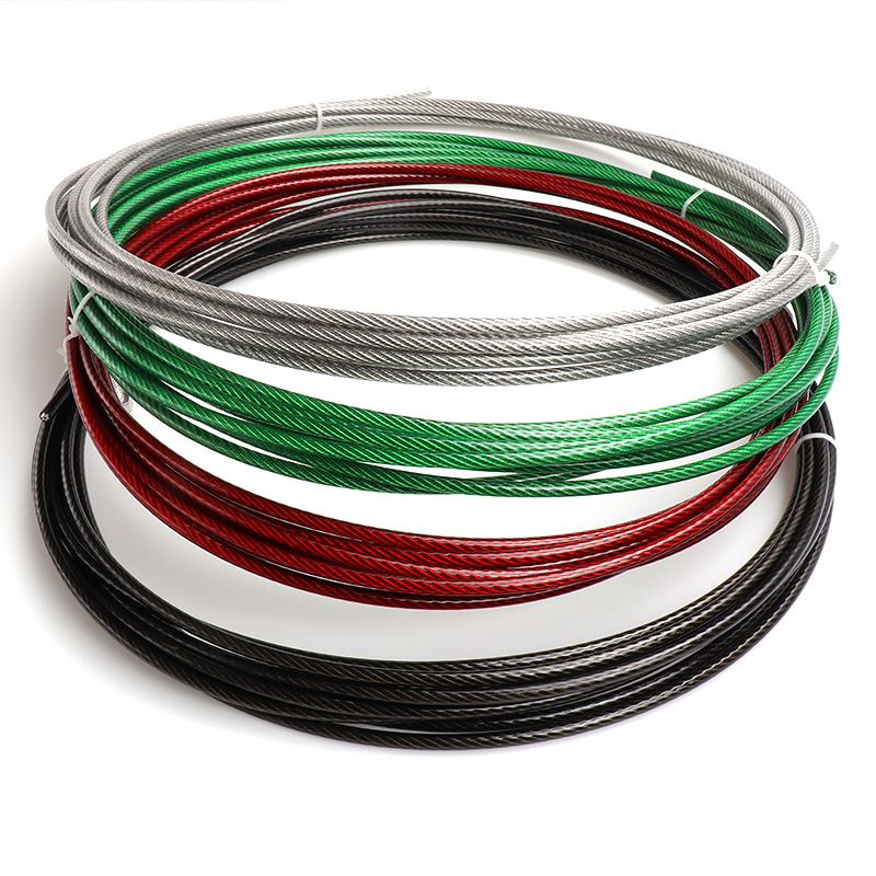HQ GR01 GREEN/RED/Black/Transparent Color PVC Plastic Coated Stainless Steel 304 Wire Rope Cable 1MM-6MM Diameter After Coating