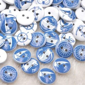 Nuevo 50/100 Uds timón, ancla botones de madera 15mm costura artesanía mezcla lotes WB265