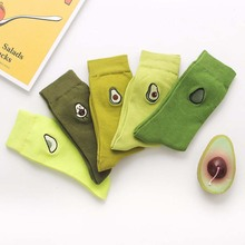 1Pair Women Happy Art Socks Cotton Creative Funny Embroidery Avocado Harajuku Fruit Cute Comfortable Heap