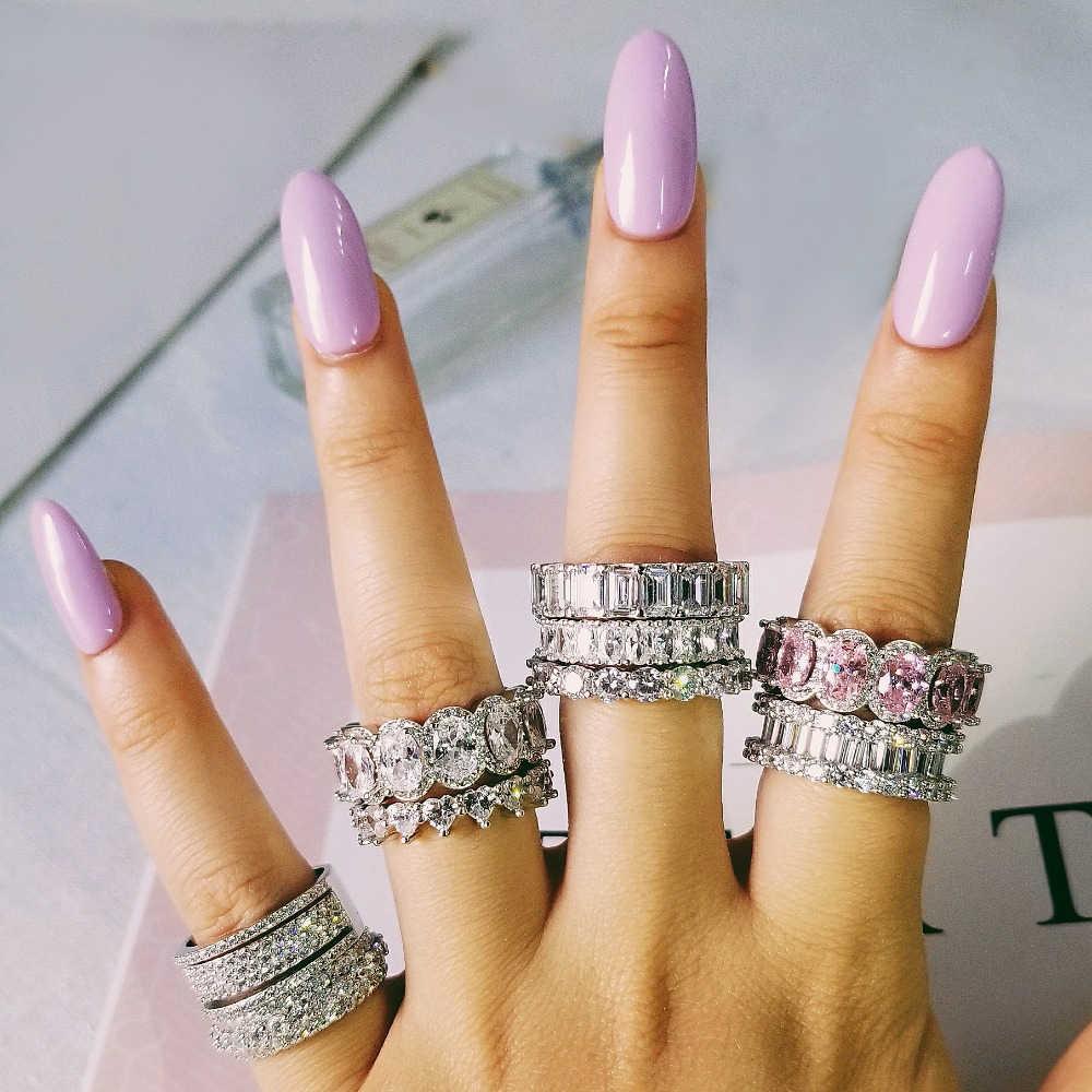 Luxe 925 Sterling Silver Wedding Band Eternity Ring Voor Vrouwen Grote Gift Voor Dames Liefde Groothandel Veel Bulk Sieraden R4577