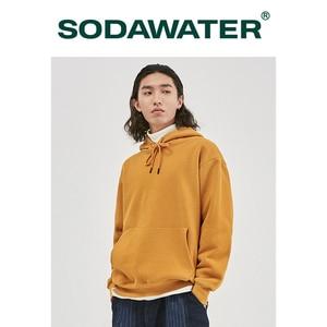 Image 3 - SODAWATER Men Hoodies Japanese Street Style 11 Pure Colors Hooded Sweatshirt Pullover Thick Warm Oversize Hoodie Men Tops 167W17