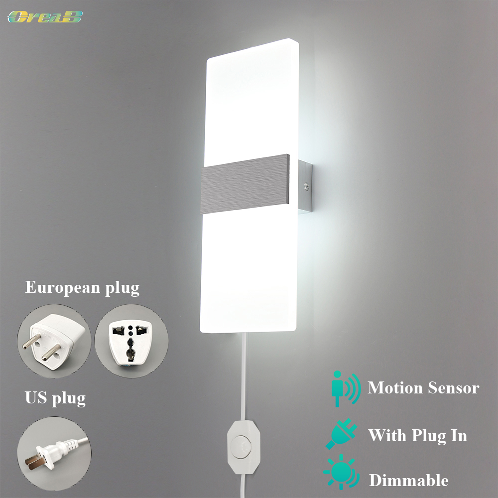 Dimmable Indoor LedWallLight With Switch Motion Sensor Contemporary Bedroom Plug In Wall Lamp Modern Fixture 6w /12w OREAB
