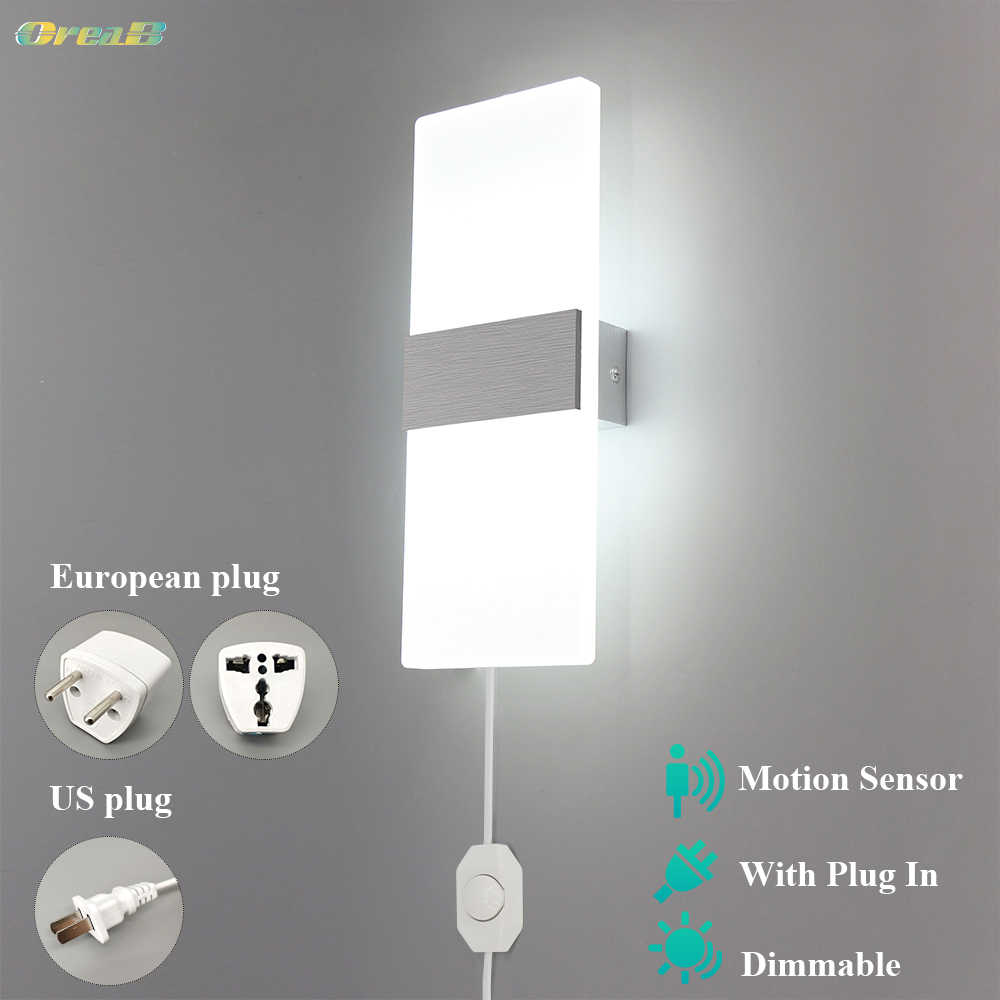 Dimmable Indoor Led Wall Light With Switch Motion Sensor Contemporary Bedroom Plug In Wall Lamp Modern Fixture 6w 12w Oreab Led Indoor Wall Lamps Aliexpress