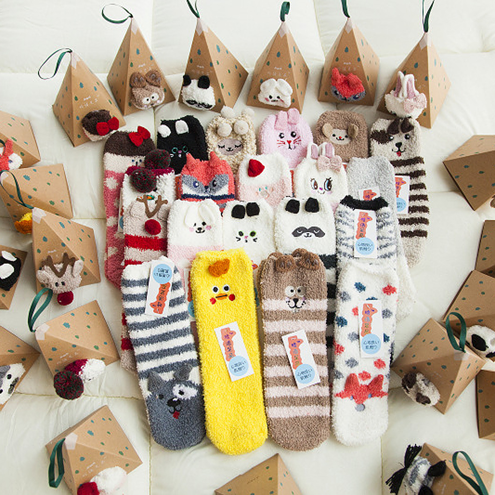 Cute Animal Design Deer Christmas Socks  For Women Gift 3D Fluffy Coral Velvet Thick Warm Winter Sock New Year Gift Sox with Box