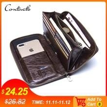 "Genuine Leather Men Clutch Wallet  Brand Male Card Holder Long  Zipper Around Travel Purse With Passport Holder 6.5"" Phone Case"