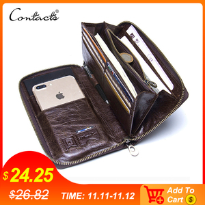 "Image 1 - Genuine Leather Men Clutch Wallet  Brand Male Card Holder Long  Zipper Around Travel Purse With Passport Holder 6.5"" Phone Case"